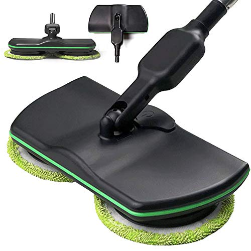 DZKU Electric Hardwood Floor Mop and Cleaner, Rechargable Floor Scrubber Machine, Cordless Rotating Mop Spinning Cleaner or Polisher Works on Laminate, Linoleum, Tile, Marble, and More