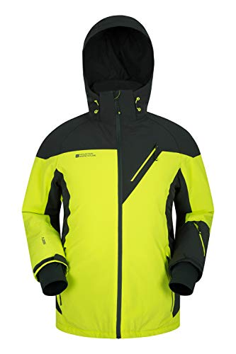 Mountain Warehouse Asteroid Mens Ski Jacket - Waterproof, Breathable, Fleece Lined Hood - Ideal For Winter Sports, Skiing, Snowboarding Lime L