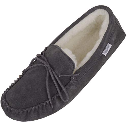 SNUGRUGS Lambswool Suede Moccasin Slippers with Soft Suede Sole (UK 11, Grey)