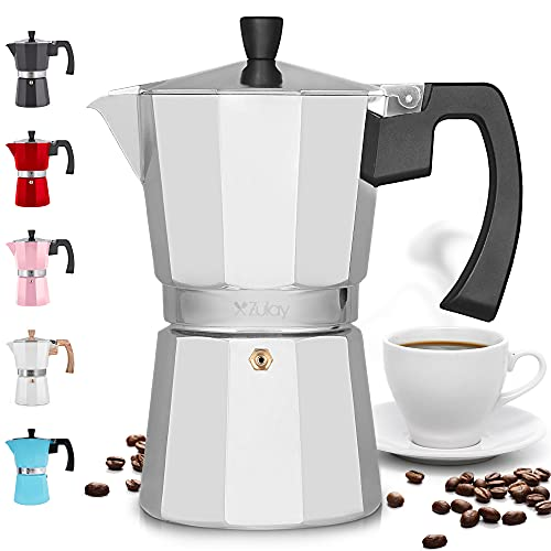 Zulay Kitchen Classic Stovetop Espresso Maker for Great Flavored Strong Espresso, Classic Italian Style 8 Espresso Cup Moka Pot, Makes Delicious Coffee, Easy to Operate & Quick Cleanup Pot