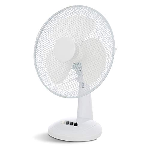 XFORT Desk Fan 3 Speed Silent & Compact Cooling Fan, 12 Inch Oscillating Desk Fan, A Must Have Essential For Summer [12 Inch, White, 3 Speed]