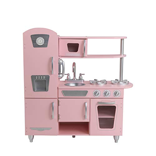 Kidkraft 53179 Pink Vintage Wooden Pretend Play Toy Kitchen For Kids With Role Play Phone Included, 91 H x 33 W x 84 D cm