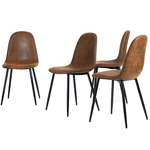 Homy Casa Set of 4 Scandinavian Vintage Kitchen Dining Chairs Suede Brown Chairs