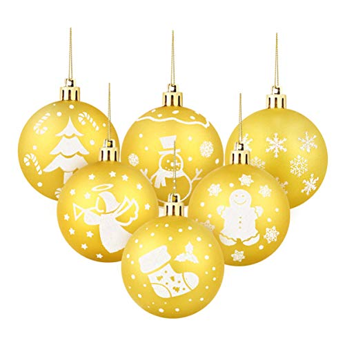 DOITOOL 30Pcs 6 CM Christmas Gold Baubles Christmas decorations, Xmas Tree Baubles Large Hanging Ball for Holiday Wedding Party Decoration(Including 6 Different Patterns)