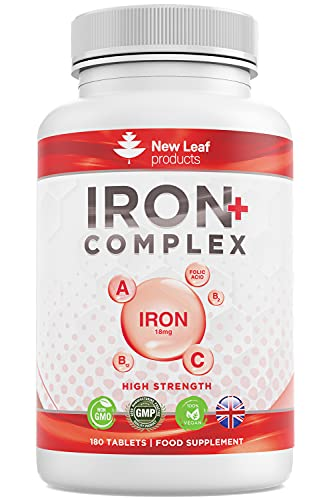 Iron Tablets 18mg High Strength and Absorbency - Very Gentle On Stomach Helps Tiredness and Fatigue with Vitamins A, C, B2, B12, and Folate - Vegan Iron Supplements, Non-GMO, GMP ,UK-Made,180 Tablets