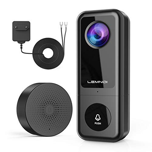 Lemnoi Video Doorbell Camera 2K, Wire Video Doorbell with Chime, Smart Motion Detection Camera with Door Chime, 2-Way Audio, 10M Night Vision, IP66 Waterproof, Sharing Device, SD Card & Cloud Storage