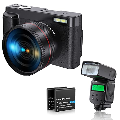 CamVeo Camcorder Digital Video Camera , 4K Ultra HD Camera with Flip Screen , Wifi Youtube Vlogging Camera with 16X Digital Zoom , Wide Angle Lens Camera Recorder with External Flash Lamp