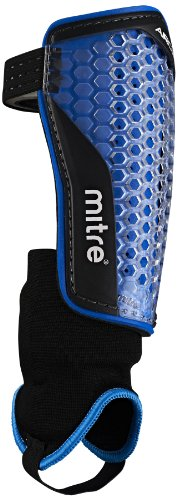 Mitre Aircell Power Ankle Protect Football Shin Pads, Blue/Black, Medium