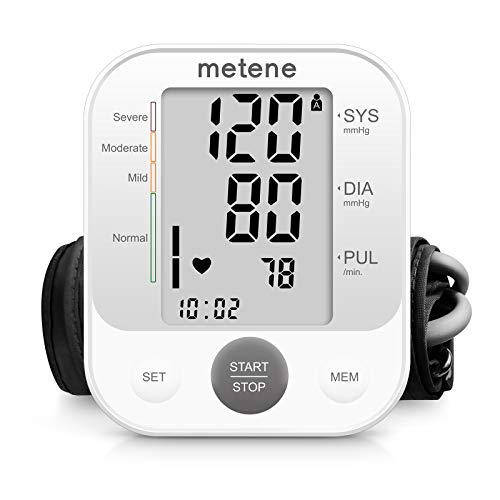 Metene Blood Pressure Monitor Upper Arm BP Cuff Machine, Accurate Automatic High Blood Pressure Machine Kit with Large Cuff 22-40cm, Pulse Rate Monitor for Home Use