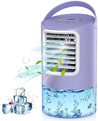 Air Cooler, 3 IN 1 Mobile Air Conditioner Fan, Personal Space Cooler, Desktop Portable Mini Evaporative Misting Fan Air Conditioner 3 Speed 7 Color LED Light for Room, Office, Kitchen-Mkocean