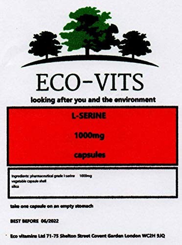 ECO-VITS L-Serine (1000MG) 60 CAPS. Biodegradable Packaging. Sealed Pouch