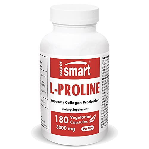 Supersmart - L-Proline 500 mg - Amino Acid Supplement - Supports Collagen Production & Healthy Skin   Non-GMO & Gluten Free - 180 Vegetarian Capsules