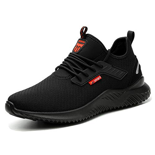 Safety Shoes Trainers Mens Women Lightweight Breathable Work Shoes Steel Toe Caps Sneakers Black