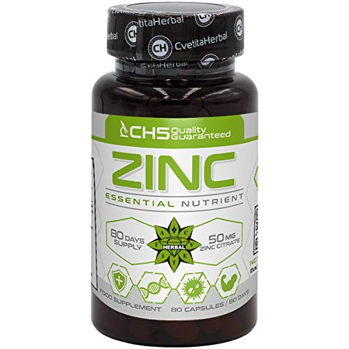 Zinc Citrate   50mg x 80 Capsules (Zinc from Zinc Citrate 15mg)   80 Day's Supply   Immune System Support Supplement   High Strength Zinc Capsules by Cvetita Herbal