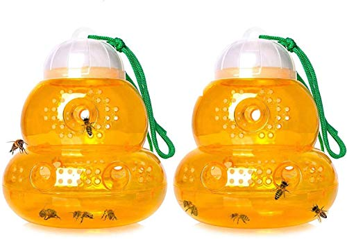 Ram® 2 X Wasp Trap Hanging Garden Wasp Hornet Bee Trap Catcher, Bee Trap, Yellow Jacket Traps, Fruit Fly Trap, Hornet Trap, Indoor, Outdoor, Hourglass-shaped