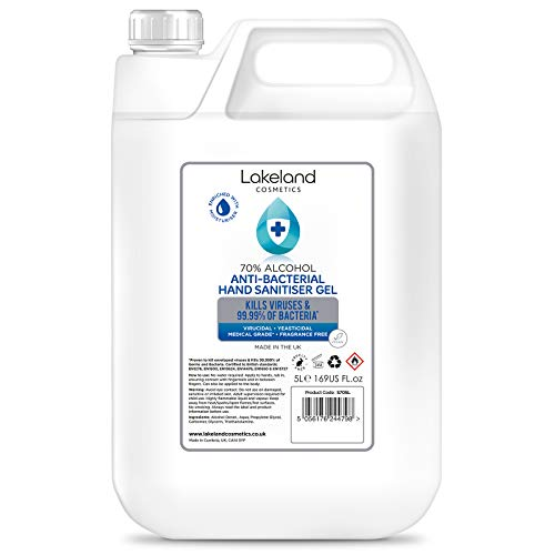 70% Alcohol Hand Sanitiser Gel - 1x 5L Litres - Certified Surgical/Medical Grade - Made in the UK (Single)
