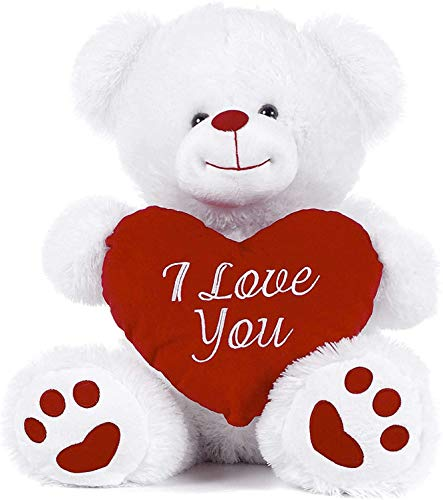 Paws White Teddy Bear holding Red Heart with I Love You written on it (White, 10.5