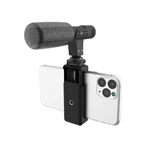 DigiPower Universal Shotgun Microphone with Mobile Phone Holder, Directional Microphone, Compatible with Smartphones, DSLR Cameras and Action Cams, DP-M25