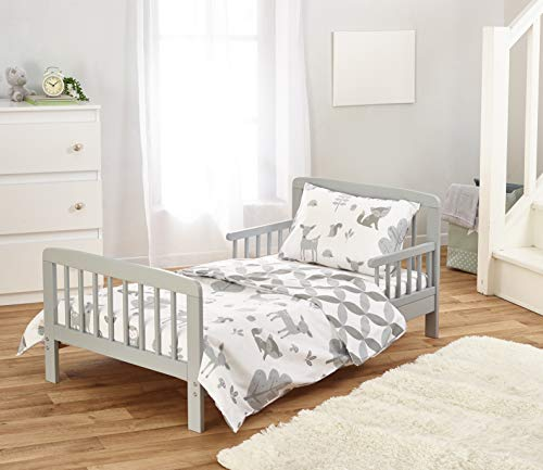 Kinder Valley Complete 7 Piece Kids Grey Toddler Bed Bundle with Deluxe Spring Mattress and Woodland Tales Reversible Bedding | Junior Bed and Children's Bed