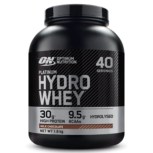 Optimum Nutrition ON Hydro Whey, Hydrolysed Whey Protein Isolate with Essential Amino Acids, Glutamine and BCAA, Milk Chocolate, 40 Servings, 1.6 kg, Packaging May Vary