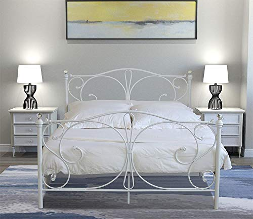 Home Treats 5ft King Size White Metal Bed Frame | King Size Bed with Crystal Finials | White King Size Bed Frame for Kids Adult Bedroom | King Size Metal Bed Frame | 5ft King Size Bed