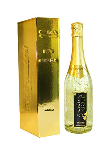 Sparkling Gold Bubbly Cuvee Wine with 23 Carat Gold Flake in Elegant Free Gold Ingot Box