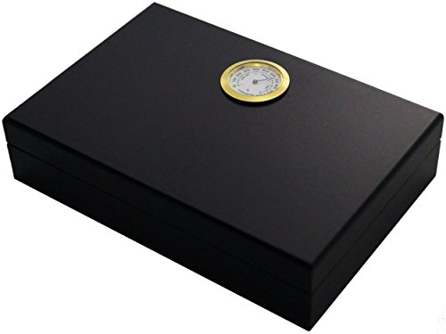 GERMANUS Mini Humidor for Travel, Couch or Terrace in Brown with Cedar Wood, Humidifier and Hygrometer in Black