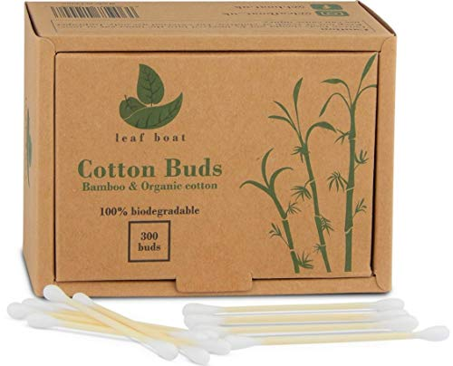 Bamboo Cotton Buds by Leaf boat | 300 or 900 buds GOTS Certified Organic Compostable & Biodegradable Eco Friendly swabs Plastic Free Sustainable Materials | Vegan | Recycled Packaging | (300/900 buds)