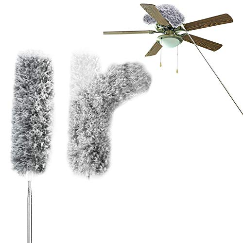 Extendable Feather Duster with 30-100 inches Stainless Steel Telescopic Pole,Microfiber Duster with Bendable Head and Soft Silicone Cap for Cleaning High Ceiling Fans, Blinds, Cobweb, Cars