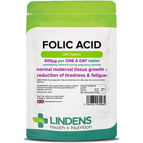 Lindens Folic Acid 400mcg Tablets - 240 Pack - Supports Normal Blood Formation, Function of The Immune System, contributes to The Reduction of Tiredness & Fatigue - UK Manufacturer, Letterbox Friendly
