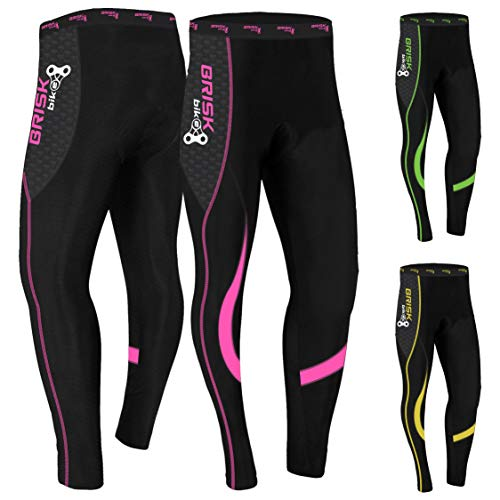 Brisk Bike Ladies Cycling Tights Padded Winter Thermal Pants Womens Cycle Bicycle Trousers (Pink-M1, Large)