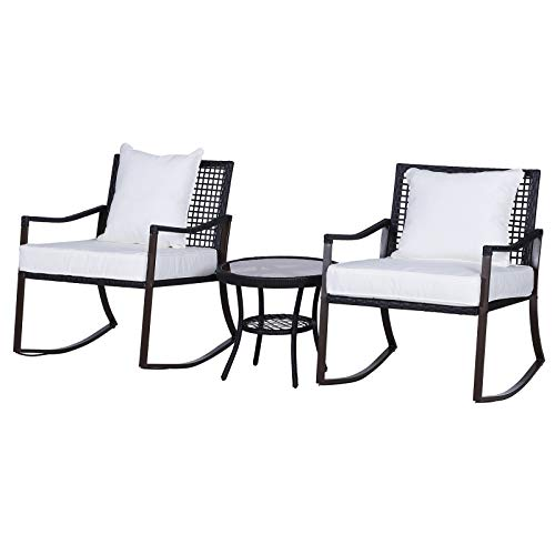 Outsunny 3 Pieces Rattan Bistro Set 2 Rocking Armchair with Pillow Cushion & Tempered Glass Round Coffee Table  Wicker Weave Furniture for Outdoor Garden Conservatory Balcony Backyard - Brown