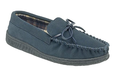 NEW MENS GENTS REAL SUEDE MOCCASIN SAND SLIPPERS SAND - BROWN OR NAVY SIZE UK 6 7 8 9 10 11 12 (10 UK, Navy)