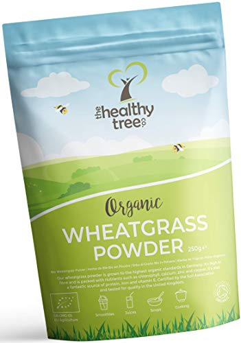 Organic Wheatgrass Powder by TheHealthyTree Company - High in Fibre, Vitamin E, Potassium and Iron - Pure Vegan Wheat Grass from Germany, Perfect in Green Juices (250g)
