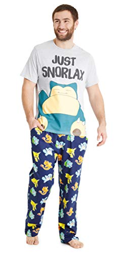 PoKéMoN Mens Pyjamas, Snorlax Cotton PJs, Novelty Gifts for Adults and Teens (Multi, XL)