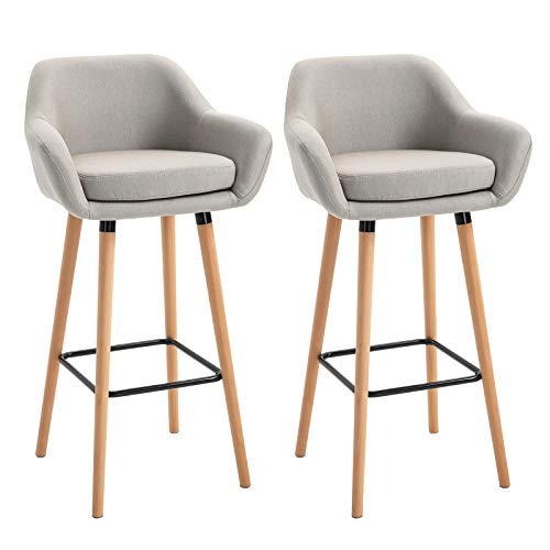 HOMCOM Set of 2 Bar Stools Modern Upholstered Seat Bar Chairs w/Metal Frame, Solid Wood Legs Living Room Dining Room Fabric Furniture - Beige