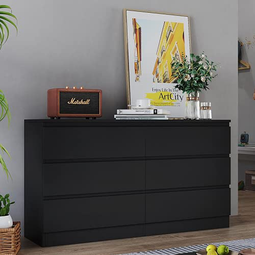 Panana Wooden 3/4/5/6 Chest of Drawers with Metal Runners Modern Bedside Storage Cabinet for Living Room Hallway Bedroom (Black, 6 Drawer Chest)