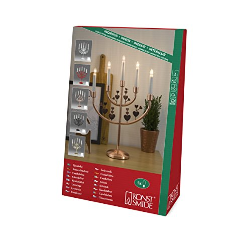Konstsmide Christmas Lights/LED Metal Welcome Light/Copper/Indoor Use/24V Internal Transformer/5 Candles with Clear Bulbs/Candle Arch White Cable On Off Switch