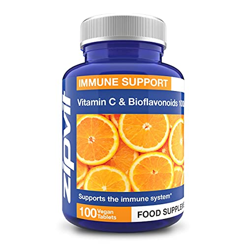 Vitamin C 1000mg with Bioflavonoids, 100 Vegan Tablets. Supports The Immune System. Contributes to a Reduction in Tiredness and Fatigue.