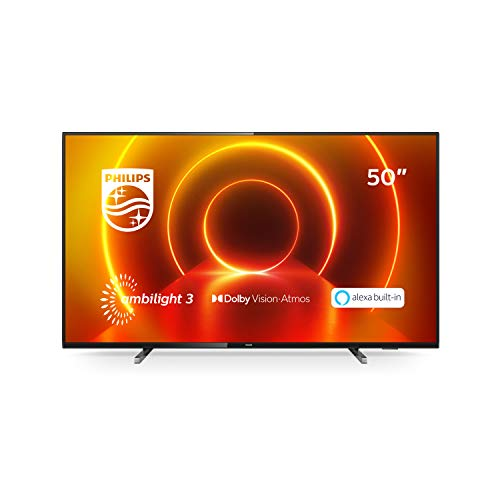Philips 50PUS7805/12 50-Inch TV with Ambilight and Alexa Built-In (4K UHD LED TV, HDR10+, Dolby Vision, Dolby Atmos, Freeview Play, Smart TV) - Plastic Gun Metal/Mid Silver (2020/2021 Model)
