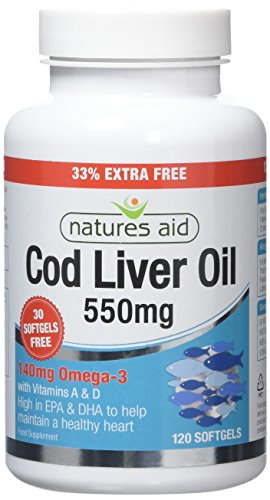 Natures Aid Cod Liver Oil 550 mg 120 Softgel Capsules (Providing 120 mg Omega-3, with Vitamins A and D, For The Normal Function of the Immune System, Purity Guaranteed, Made in the UK)