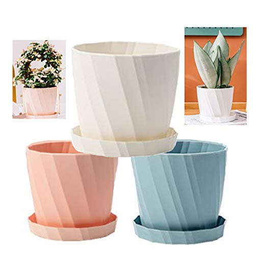 Dproptel 3 Pack Colorful Plastic Flower Pots, Plant Holder Nordic Style Garden Pots Plant Containers with Base Bracket for Succulents, Flowers, Herbs, Cactus Indoor/Outdoor Décor