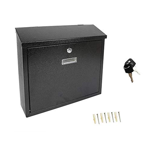 Display4top Lockable Letter Box   Post Box   Mail Box with Cover Outdoor Wall Mounted Mail Box - Black