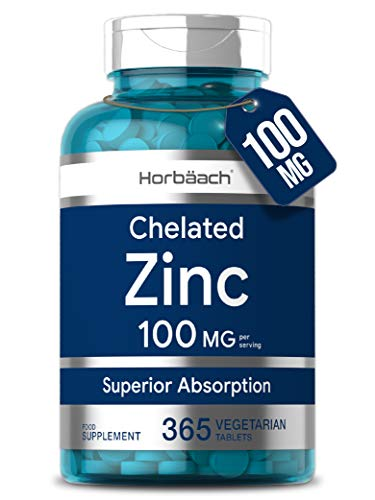 Chelated Zinc (Gluconate) 100mg   365 Tablets   High Strength Immune Support   Non-GMO, Gluten Free Supplement