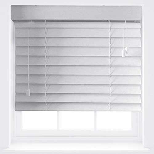 FURNISHED Luxury White Wood Effect Venetian Blinds 50mm Made to Measure Up To 60cm x 210cm
