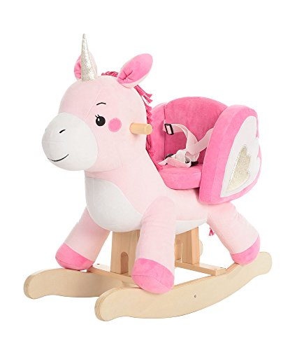 labebe - Baby Rocking Horse, Kid Rocker, Pink Unicorn Rocking Chair, Wooden Rocking Toy,Toddler Rocking Horse, Child Rocking Animal, Outdoor Animal Rocker, Girl/Boy Ride on Toy for 1-3 Year Old