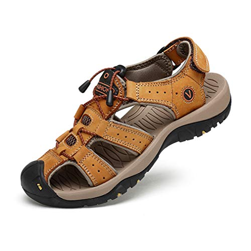 Sports Outdoor Sandals Summer Men's Beach Shoes Closed-Toe Shoes Leather Casual Trekking Walking Hiking Touch Close Strap sandals for men