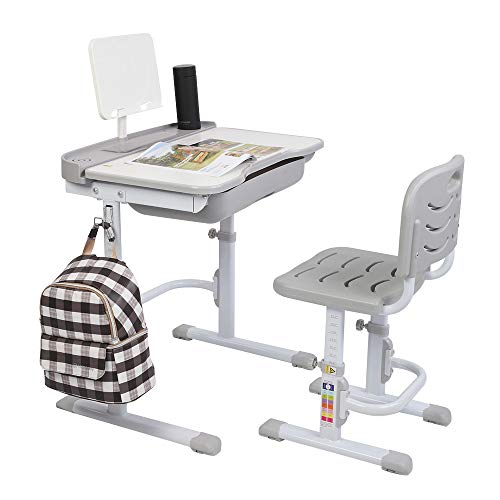 Bonnlo 27.6inch Children's Desk Chairs Sets Height Adjustable Student Table and Chair Multifunctional Kids Writing Desk and Chair for Kids (Grey)
