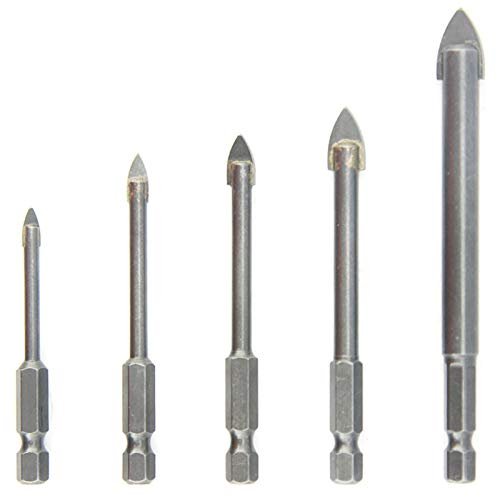 NORTOOLS Glass Drill Bits Set 5 PCS High Carbon Steel Drills with Carbide Tip & 1/4 inch Quick Change Hex Shank for Glass Mirrors Ceramic Tile 4 5 6 8 10 mm