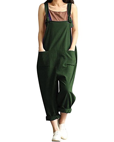 BBYES Women Casual Overall Sleeveless Oversized Long Playsuit Jumpsuit Dungarees Green L